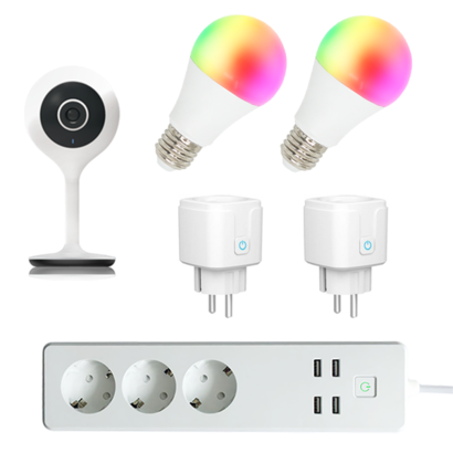 Woox Smart Home kit 2x Plug, 2x Lamp, Camera & Stekkerdoos
