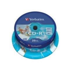 Verbatim CD-R AZO Inkjet Printable 25 stuks Spindel