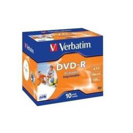 Verbatim DVD-R 4,7GB Printable 10 stuks Jewelcase