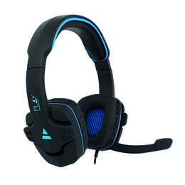 Ewent Play PL3320 over-ear gaming headset zwart/blauw