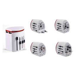 Universele Dual USB 4-in-1 reisadapter EU/UK/US/AU plugs wit