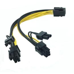 Voedingskabel 6-pin PCI-E naar 2x 8-pin (6+2 pins) F/M PCI-E