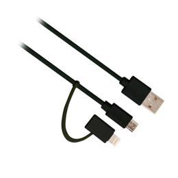 Ewent EW9909 2-in-1 Lightning/Micro USB naar USB kabel 1m